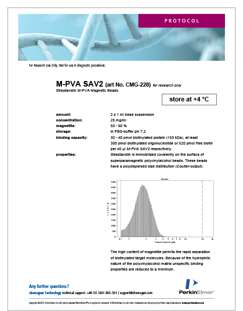 Product specifications of M-PVA SAV2 Magnetic Beads