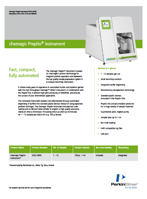 Magnetic separation technology realized in the chemagic Prepito instrument