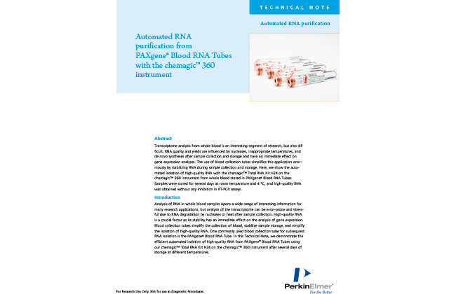 Automated RNA purification from Paxgene